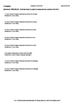 Worksheet for 4.MD.5A-2.6 - Indicate that an angle is meas