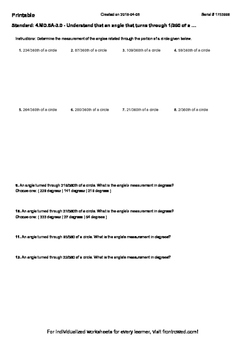 Worksheet for 4.MD.5A-3.0 - Understand that an angle that turns through 1 360 of