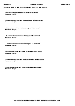 Worksheet for 4.MD.5A-3.2 - Articulate that a circle has 360 degrees