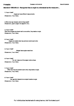 Worksheet for 4.MD.5A-3.3 - Recognize that an angle is und