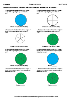 Worksheet for 4.MD.5A-3.4 - Point out that a full circle (360 degrees) can be di