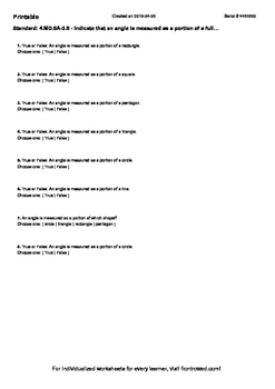 Worksheet for 4.MD.5A-3.5 - Indicate that an angle is measured as a portion of a