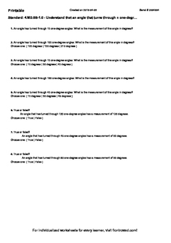 Worksheet for 4.MD.5B-1.0 - Understand that an angle that turns through n one-de