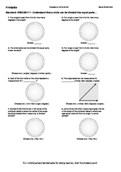Worksheet for 4.MD.5B-1.1 - Understand that a circle can b