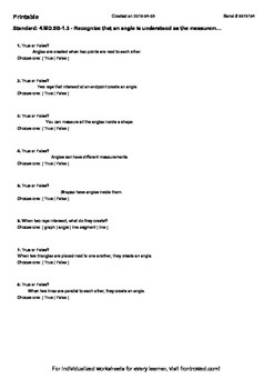 Worksheet for 4.MD.5B-1.3 - Recognize that an angle is und