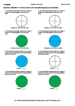 Worksheet for 4.MD.5B-1.4 - Point out that a full circle (360 degrees) can be di