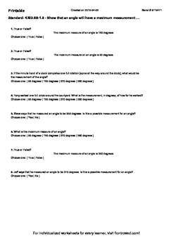 Worksheet for 4.MD.5B-1.5 - Show that an angle will have a