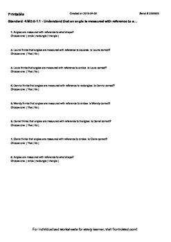 Worksheet for 4.MD.6-1.1 - Understand that an angle is measured with reference t