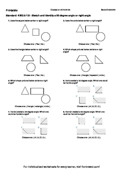 Worksheet for 4.MD.6-1.5 - Sketch and identify a 90-degree