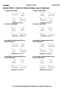 Worksheet for 4.MD.6-1.6 - Sketch and identify a 180-degree angle or straight an