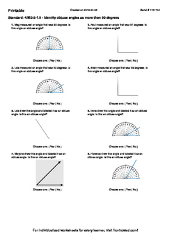 Worksheet for 4.MD.6-1.9 - Identify obtuse angles as more than 90 degrees