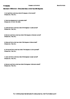 Worksheet for 4.MD.6-2.3 - Articulate that a circle has 360 degrees
