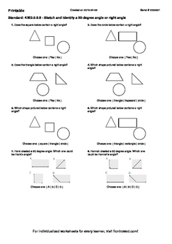 Worksheet for 4.MD.6-2.5 - Sketch and identify a 90-degree angle or right angle
