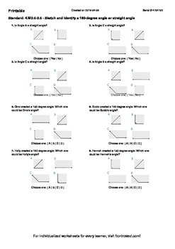 Worksheet for 4.MD.6-2.6 - Sketch and identify a 180-degree angle or straight a
