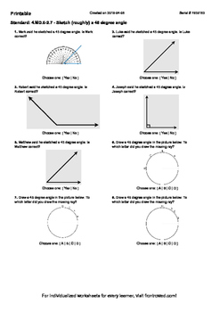 Worksheet for 4.MD.6-2.7 - Sketch (roughly) a 45 degree angle