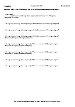 Worksheet for 4.MD.7-1.2 - Understand that an angle that t