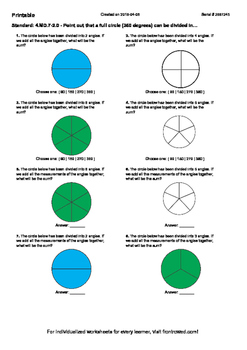 Worksheet for 4.MD.7-2.0 - Point out that a full circle (360 degrees) can be div