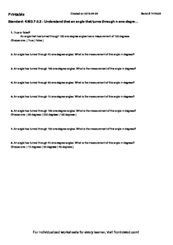 Worksheet for 4.MD.7-3.2 - Understand that an angle that t