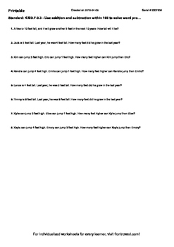 Worksheet for 4.MD.7-3.3 - Use addition and subtraction within 100 to solve word