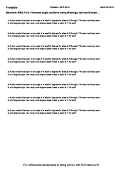 Worksheet for 4.MD.7-3.5 - Interpret angle problems using drawings, real-world e