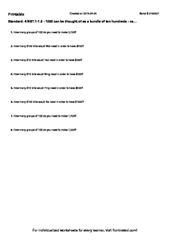 Worksheet for 4.NBT.1-1.3 - 1000 can be thought of as a bundle of ten hundreds -