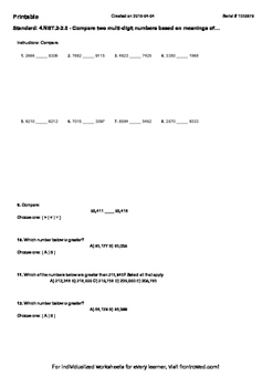 Worksheet for 4.NBT.2-2.0 - Compare two multi-digit numbers based on meanings o