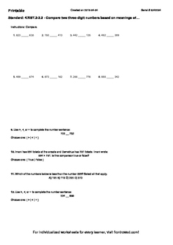 Worksheet for 4.NBT.2-2.2 - Compare two three-digit number