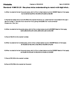 Worksheet for 4.NBT.3-1.0 - Use place value understanding