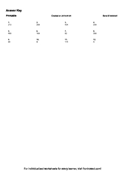 Worksheet for 4.NBT.4-2.1 - Fluently subtract within 1000 using strategies and a
