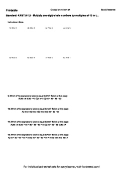 Worksheet for 4.NBT.5-1.2 - Multiply one-digit whole numbers by multiples of 10