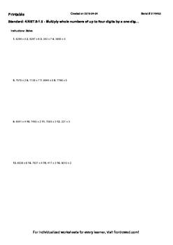 Worksheet for 4.NBT.5-1.6 - Multiply whole numbers of up to four digits by a one