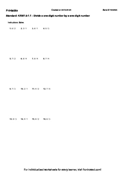 Worksheet for 4.NBT.6-1.1 - Divide a one-digit number by a