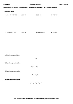 Worksheet for 4.NF.3A-1.0 - Understand a fraction a b with a  1 as a sum of frac