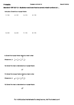 Worksheet for 4.NF.3C-1.2 - Students must know how to convert mixed numbers to
