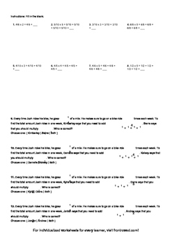 Worksheet for 4.NF.4B-1.1 - Students must know that multiplication is repeated a