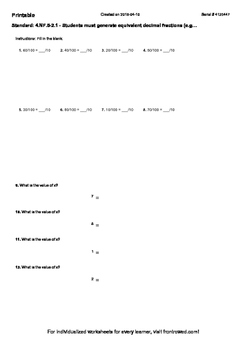 Worksheet for 4.NF.5-2.1 - Students must generate equivalent decimal fractions