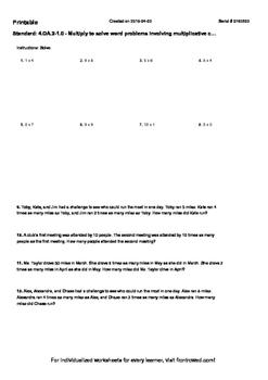 Worksheet for 4.OA.2-1.0 - Multiply to solve word problems involving multiplicat