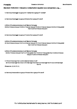 Worksheet for 4.OA.2-2.2 - Interpret a multiplication equation as a comparison,