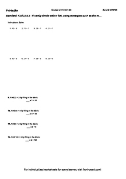 Worksheet for 4.OA.2-2.3 - Fluently divide within 100, using strategies such as