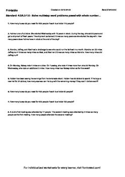 Worksheet for 4.OA.3-1.0 - Solve multistep word problems p
