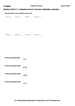 Worksheet for 4.OA.3-1.1 - Understand and use to denote multiplication, especial