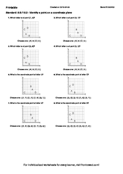 Worksheet for 5.G.1-2.2 - Identify a point on a coordinate plane
