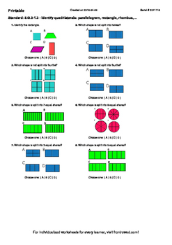 Worksheet for 5.G.3-1.3 - Identify quadrilaterals parallelogram, rectangle, rho