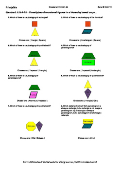 Worksheet for 5.G.4-1.0 - Classify two-dimensional figures in a hierarchy based