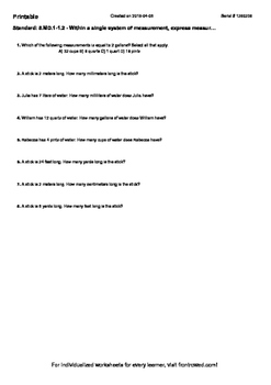 Worksheet for 5.MD.1-1.2 - Within a single system of measurement, express measur