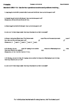 Worksheet for 5.MD.1-1.6 - Use the four operations to solve word problems involv