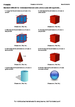 Worksheet for 5.MD.3A-1.2 - Understand that one cubic unit is a cube with equal