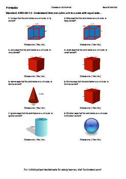 Worksheet for 5.MD.3B-1.3 - Understand that one cubic unit is a cube with equal