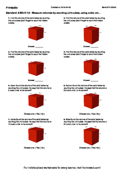 Worksheet for 5.MD.4-1.0 - Measure volumes by counting unit cubes, using cubic