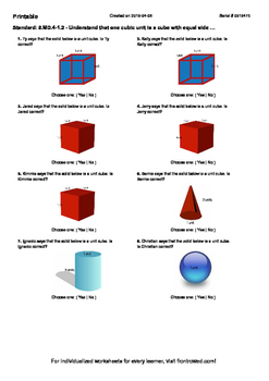 Worksheet for 5.MD.4-1.2 - Understand that one cubic unit is a cube with equal s